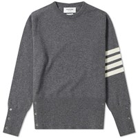 Thom Browne Arm Stripe Cashmere Crew Sweat Grey