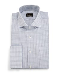 Neiman Marcus Classic Fit Plaid Dress Shirt Pale Blue