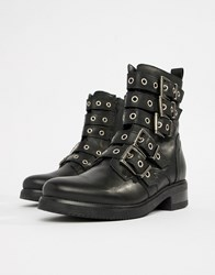 Aldo Multi Buckle Leather Ankle Boots Black Leather