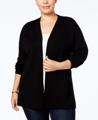 Charter Club Plus Size Open Front Cardigan Created For Macy's Deep Black