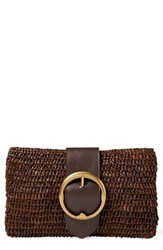 Polo Ralph Lauren Lennox Raffia And Leather Clutch Brown Dark Brown
