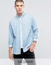 Brooklyn Supply Co. Co Heavy Washed Shirt With Pocket Stone Wash Blue
