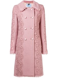 Blumarine Floral Embroidered Coat Pink And Purple