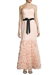 Strapless Shirred Mesh Gown With Flowered Skirt Blush