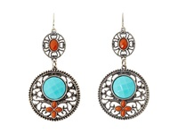 Mandf Western Filagree Turquoise Drop Earrings Turquoise Red Earring