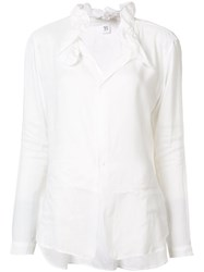 Y's Gathered Collar Shirt White