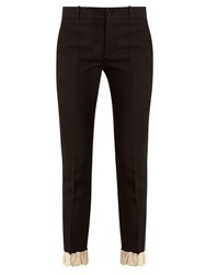 Gucci Ruffled Hem Silk And Wool Blend Trousers Black Cream
