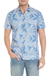 Kahala Coral Star Trim Fit Print Sport Shirt Blue