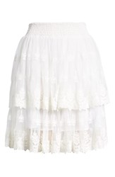 Kas New York Francine Tiered Lace Skirt White