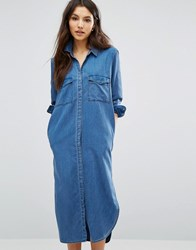 Only Long Denim Shirt Dress Medium Blue