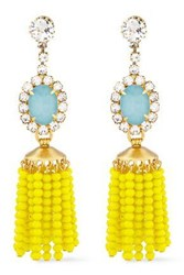Elizabeth Cole Woman 24 Karat Gold Plated Crystal And Bead Earrings Yellow