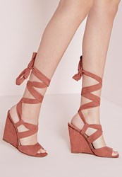 Missguided Lace Up Wedge Sandals Blush Terracotta