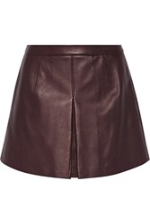 Vince Leather Mini Skirt Red