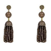 Latelita London Tassel Ball Earring Smokey Quartz Brown Rose Gold