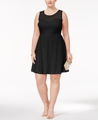 Love Squared Trendy Plus Size Lace Fit And Flare Dress Black