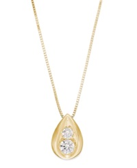 Macy's Diamond Teardrop Pendant Necklace In 14K Yellow Or White Gold 1 4 Ct. T.W. Yellow Gold
