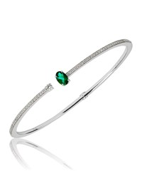 Hueb Spectrum 18K White Gold Diamond And Emerald Bracelet