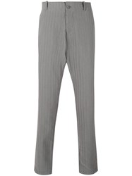 Transit Pinstripe Tapered Trousers Men Cotton Linen Flax S Grey