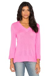 Autumn Cashmere Bell Sleeve V Neck Sweater Pink