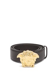 Versace Medusa Buckle Leather Belt Black Gold