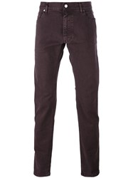 Z Zegna Slim Fit Jeans Pink And Purple