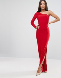 Club L One Shoulder Maxi Dress With Thigh Split Red