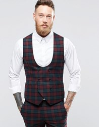 Noose And Monkey Super Skinny Db Waistcoat In Tartan With Stretch Burgundy Red