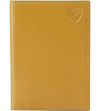 Aspinal Of London Double Fold Leather Card Holder Yellow