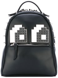 Les Petits Joueurs Micro Mick Eyes Backpack Women Leather Acrylic Metal Other One Size Black