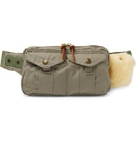 Filson Fishing Shearling Trimmed Cotton Canvas Belt Bag Green