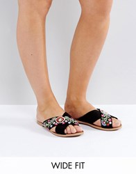 New Look Wide Fit Embroidered Cross Stap Mule Black
