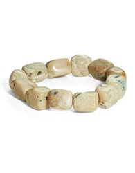 Lord And Taylor Semi Precious Stone And Sterling Silver Stretch Bracelet Brown