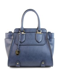 London Fog Kensington North South Vegan Leather Satchel Dark Denim