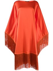 Gianluca Capannolo Fringed Long Sleeve Dress Orange