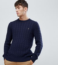 2ed5228b01f Ludwig Cable Crew Neck Jumper In Navy
