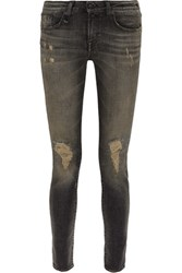 R 13 R13 Alison Distressed Mid Rise Skinny Jeans Charcoal