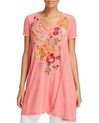 Johnny Was Collection Karlotta Embroidered Drape Tee Dusty Coral