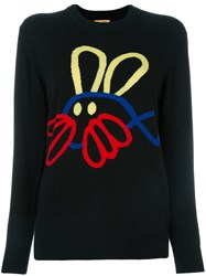 Peter Jensen Fish Rabbit Jumper Black