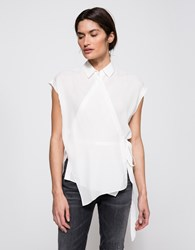 Alexander Wang Sleeveless Wrap Blouse Off White