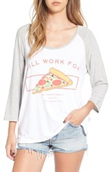 The Laundry Room Women's 'Will Work For Pizza' Graphic Baseball Tee Heather