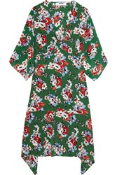 Msgm Floral Print Silk Dress Forest Green
