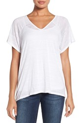 Press Women's Double V Neck Short Sleeve Tee White