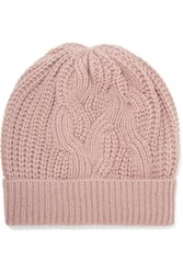 Johnstons Of Elgin Cable Knit Cashmere Beanie Blush