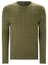 Polo Ralph Lauren Cable Knit Crew Neck Jumper New Olive