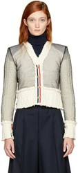 Thom Browne Off White Inside Out V Neck Tailored Aran Cardigan
