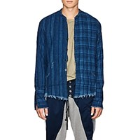 Greg Lauren Checked Cotton Flannel Studio Shirt Blue
