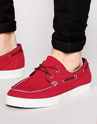 Timberland Newport Canvas Boat Shoes Red