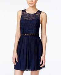 Amy Byer Bcx Juniors' Lace Popover Dress Dark Blue