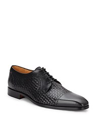 Saks Fifth Avenue Woven Leather Cap Toe Oxfords Black