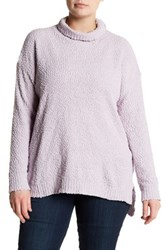 Joseph A Textured Cowl Neck Sweater Plus Size Purple